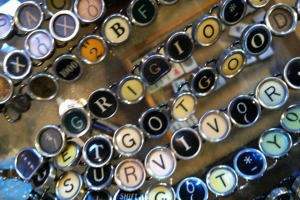 Typewriter keys made into rings