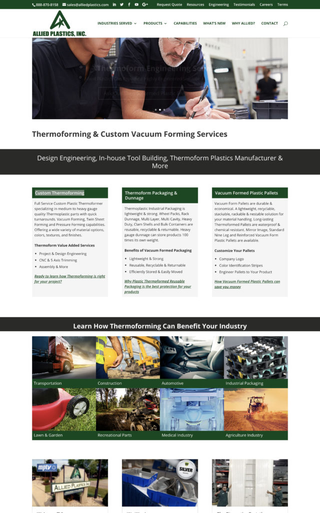 Allied Plastics Thermoforming & Custom Vacuum Forming Services Website