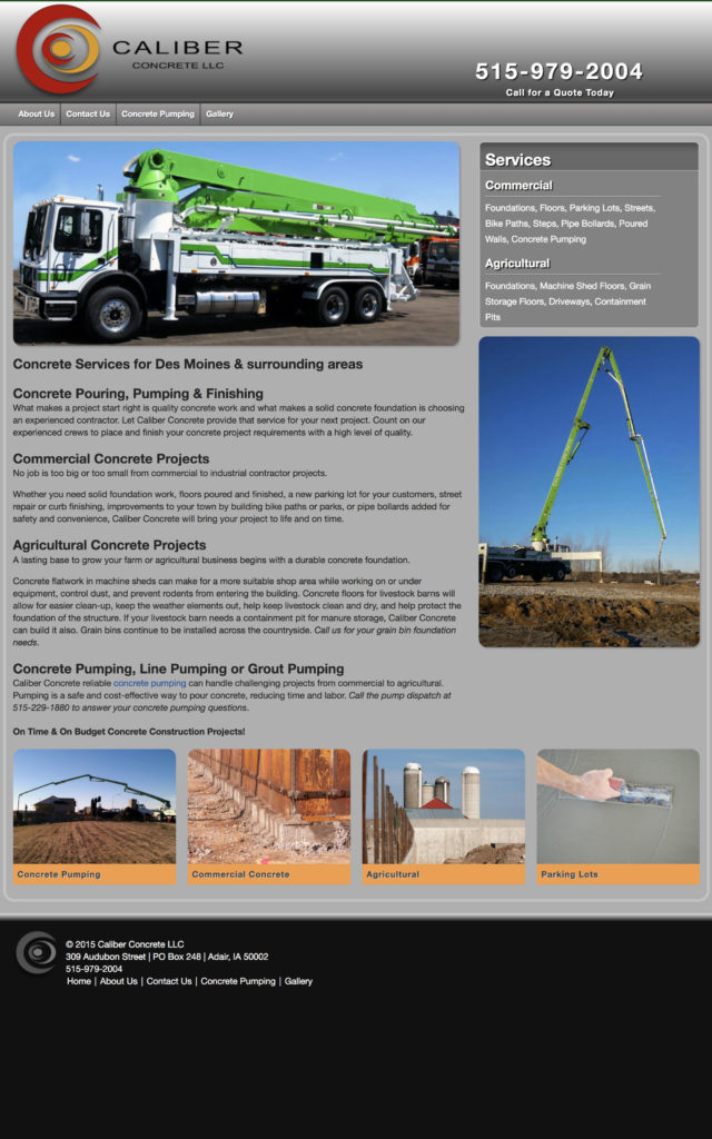 Caliber Concrete Website