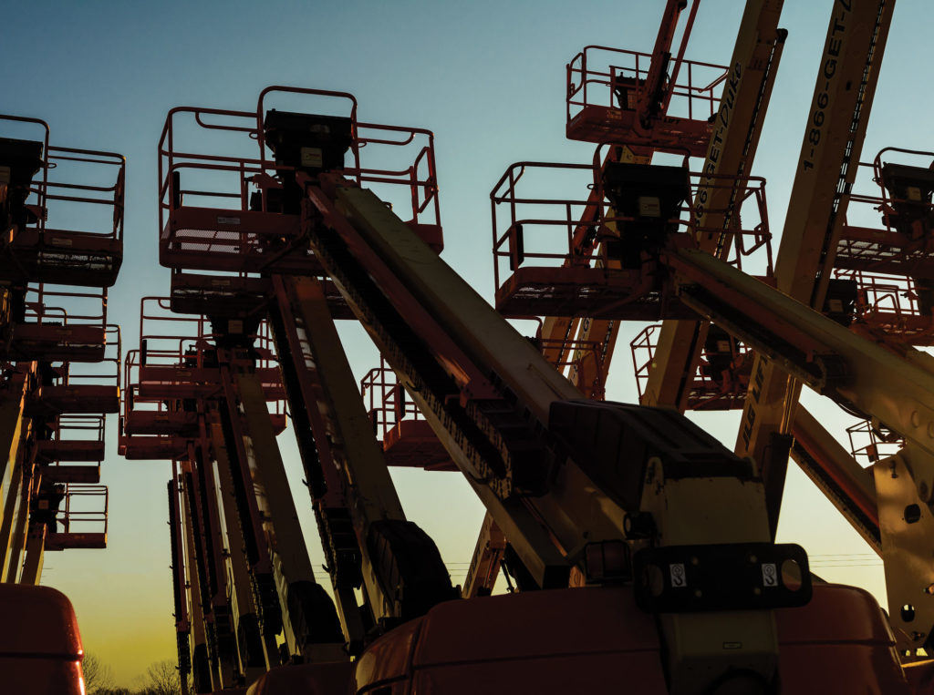 Lifestyle Product Photos Outdoor at sunset - Boom Lifts