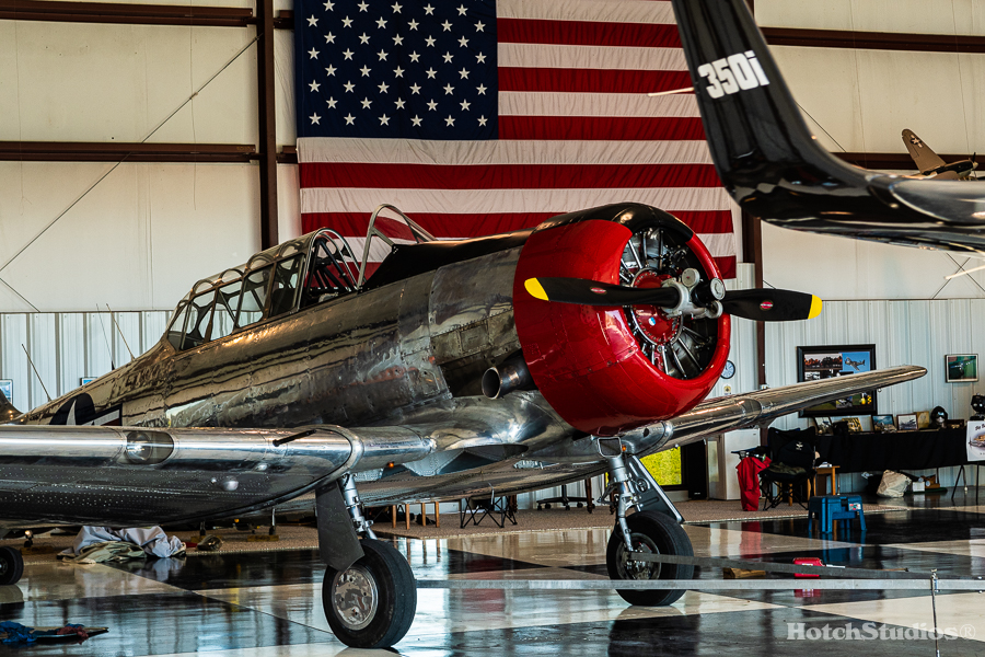 T- 6 Texan and American Flag in hanger